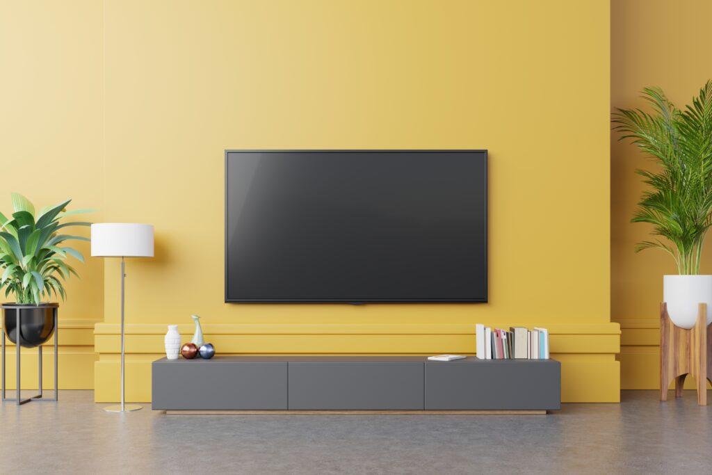 8K Televisie geïntegreerd in de woonkamer
