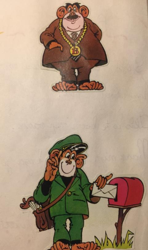 Ontzettend leuke 'apen stickers in allerlei functies': hoe jaren 70!